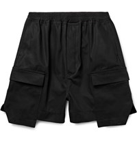 Rick Owens Layered Cotton Canvas Cargo Shorts Black