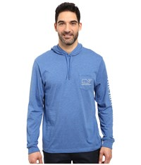 Vineyard Vines Long Sleeve Heather Whale Hoodie Pocket T Shirt Wipeout Men's T Shirt Blue