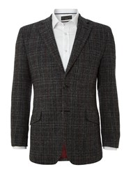 Harris Tweed Men's Fergus Overcheck Slim Fit Blazer Black