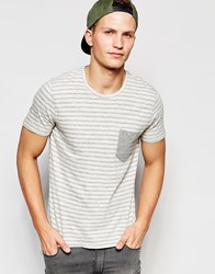 Selected Homme Stripe T Shirt With Contrast Pocket Grey