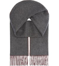 Johnstons Double Face Cashmere Scarf Grey Red
