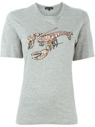 Markus Lupfer 'Embellish Lobster' T Shirt Grey