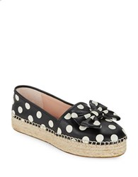 Kate Spade Linds Leather Espadrilles Platform Flats Black White