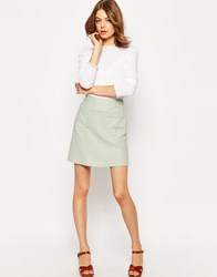 Asos A Line Linen Skirt With Pocket Detail Mint Green