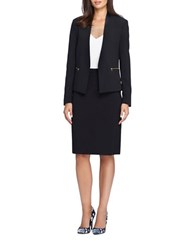 Tahari By Arthur S. Levine Two Piece Faux Leather Trimmed Jacket And Skirt Suit Set Black