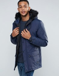 Tokyo Laundry Parka Jacket With Faux Fur Hood Navy
