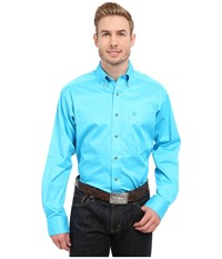 Ariat Solid Twill Shirt Blue Atoll Men's Long Sleeve Button Up