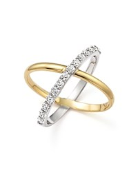 Kc Designs Diamond X Ring In 14K Yellow And White Gold
