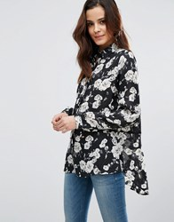 Poppy Lux Reanne Rose Slouch Blouse Black White Floral