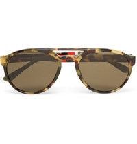 Orlebar Brown Aviator Style Tortoiseshell Acetate Sunglasses Brown