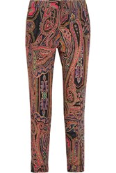 Etro Printed Wool Twill Slim Leg Pants Pink