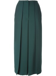 Cedric Charlier Front Pleat Cropped Pants Green