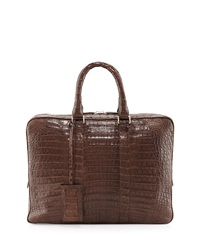 Santiago Gonzalez Crocodile Compartment Skinny Briefcase Chocolate