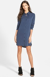 Wayf Button Front Shirtdress Navy