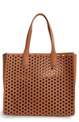 Emperia Romy Perforated Faux Leather Tote And Pouch Blue Cognac