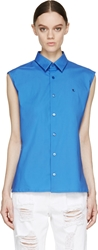 Raf Simons Blue Sleeveless Embroidered Logo Blouse