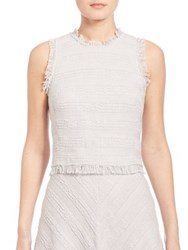 Rebecca Taylor Sleeveless Textured Tweed Top Pale Blue