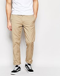 Edwin Union Chinos Straight Fit Twill In Beige Unwashed Light Khaki