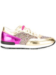 Pollini Paneled Glitter Sneakers Metallic