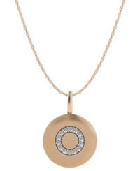 Macy's 14K Rose Gold Necklace Diamond Accent Letter O Disk Pendant