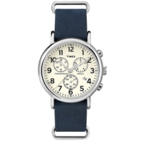 Timex Weekender Chrono Oversized Cream And Blue