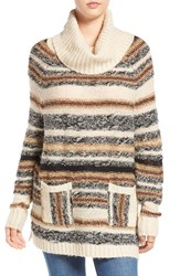 Sun And Shadow Women's Stripe Cowl Neck Tunic