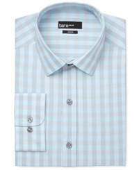Bar Iii Men's Slim Fit Aqua And Silver Checked Dress Shirt Only At Macy's