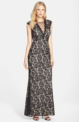 Women's Betsy And Adam Illusion V Neck Lace Trumpet Gown Black Nude