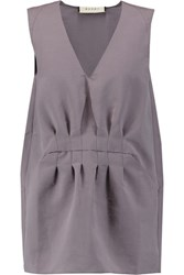 Marni Gathered Silk Blend Crepe Top Lilac