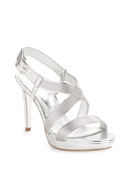 Adrianna Papell Anette Stretch Strap Sandals Silver
