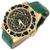 Julius Legend Capitol 18K Gold And Green Crocodile Leather Watch