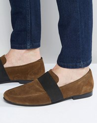 Asos Loafers In Khaki Suede With Elastic Strap Khaki Green