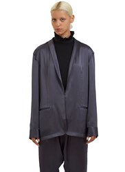 Baja East Oversized Satin Blazer Jacket Grey