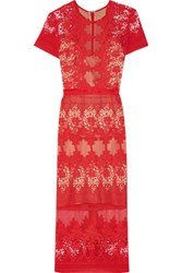 Catherine Deane Forever Lace And Cotton Midi Dress Red