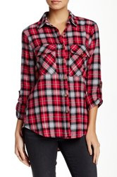 Lily White Plaid Flannel Shirt Juniors Red