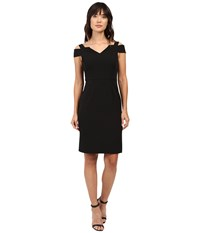 Adrianna Papell Cold Shoulder Fitted Sheath Black Women's Dress
