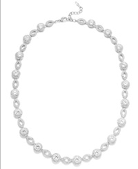 Eliot Danori Necklace Silver Tone Crystal And Cubic Zirconia Marquise And Circle Framed Link Necklace 19 Ct. T.W.