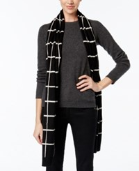 Charter Club Cashmere Windowpane Print Scarf Only At Macy's Classic Black Combo