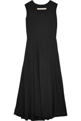 Raquel Allegra Big Sweep Cotton Blend Jersey Dress Black