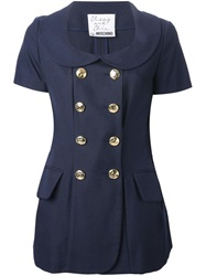 Moschino Vintage Short Sleeve Jacket And Skirt Set Blue