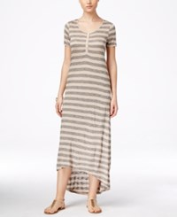 G.H. Bass And Co. Striped High Low Maxi Dress Heather Sandy Combo