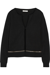 Sandro Genial Zip Detailed Cotton And Wool Blend Cardigan Black
