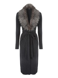 Jane Norman Grey Faux Fur Trim Collar Cardi Grey