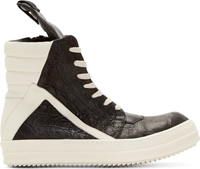 Rick Owens Black And White Alligator Geobasket Sneakers