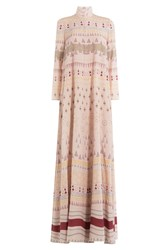 Valentino Floor Length Printed Silk Maxi Dress Multicolor