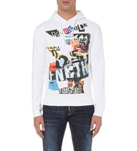 Dsquared Graphic Print Cotton Jersey Hoody White