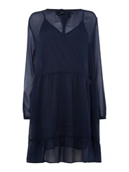Maison Scotch Sheer Midi Length Dress Navy