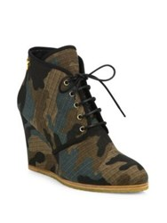 Giuseppe Zanotti Camo Print Suede Lace Up Desert Wedge Booties