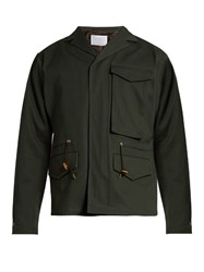 Kolor Notch Lapel Cotton Gabardine Field Jacket Dark Green
