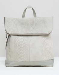 Asos Leather Embossed Backpack Pale Grey